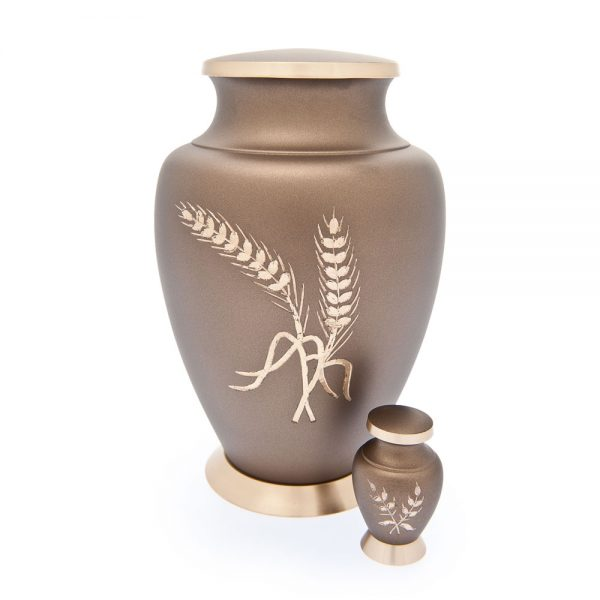 Aria Wheat Metal Urn with Keepsake
