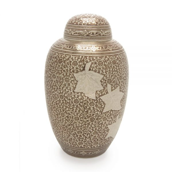 Falling Leaves Metal Urn