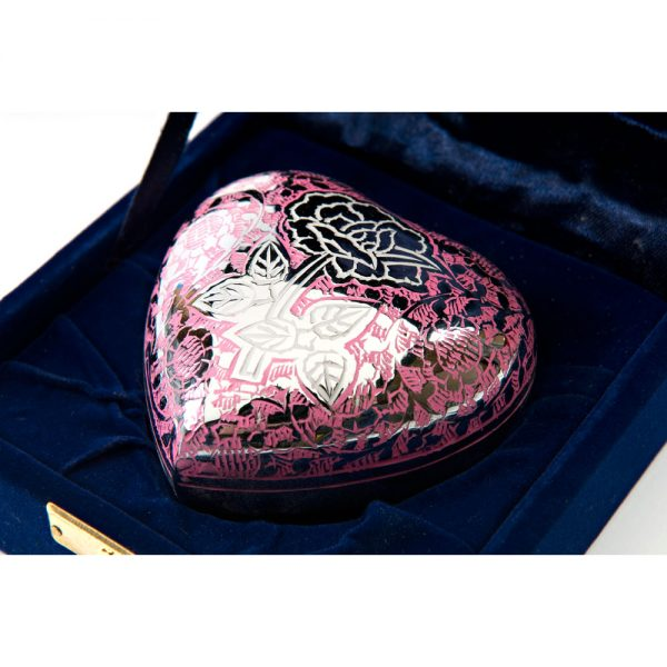 Lavender Rose Heart Metal Keepsake Urn