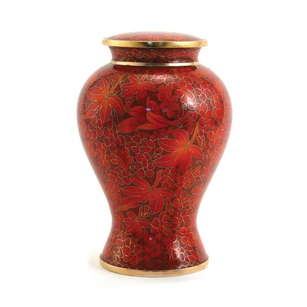 Etienne Autumn Leaves Cloisonne Urn