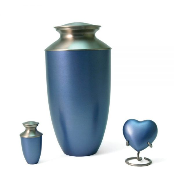 Monterey Blue Metal Urn and Keepsakes