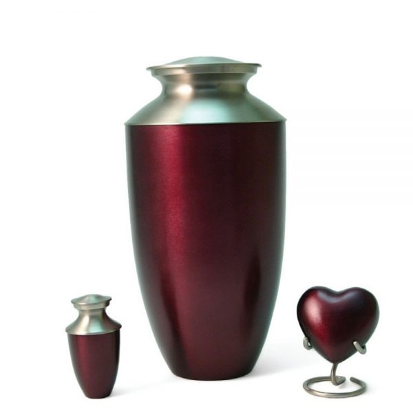 Monterey Ruby Metal Urn and Keepsakes