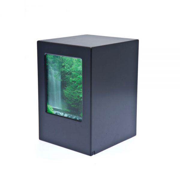 Black Photo Wood Laminate Urn