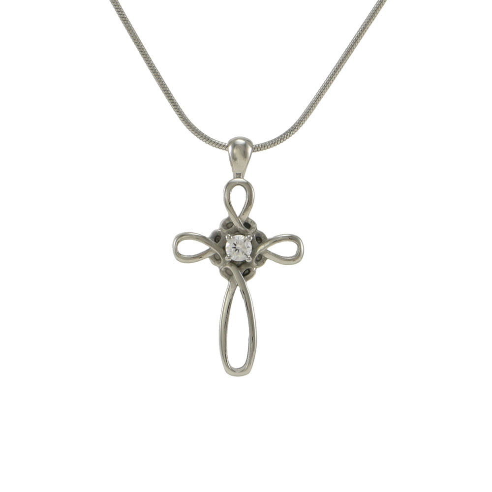 Infinity cross pendant butterworth urn co j5131 pewter infinity cross aloadofball Images