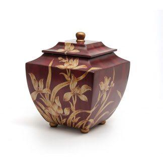 Burgundy Orchid Resin Urn