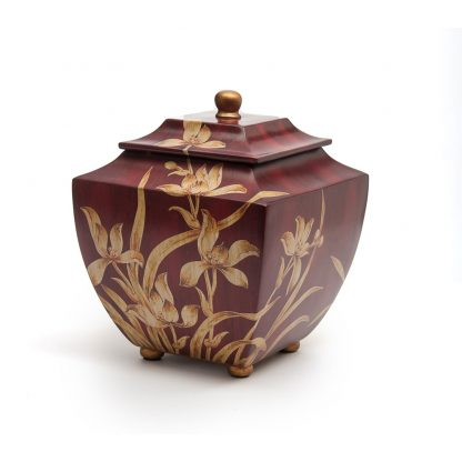 Burgundy Orchid Resin Urn