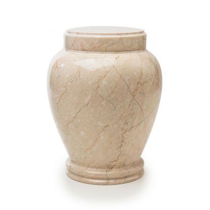 Round Botticino Marble Urn