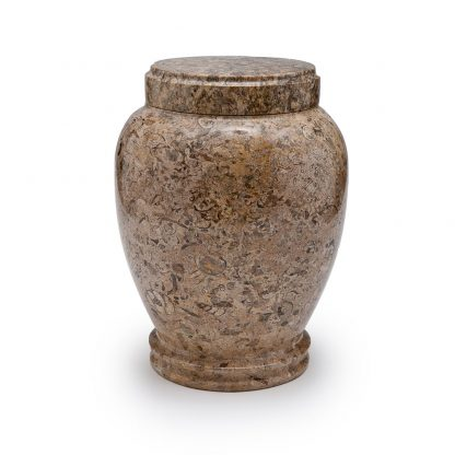 Round Fossil Marble Urn