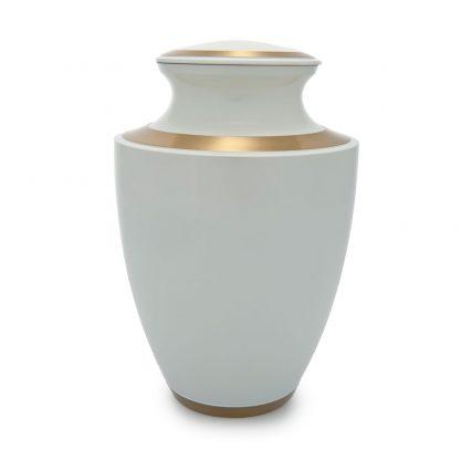 Trinity Pearl White Metal Urn